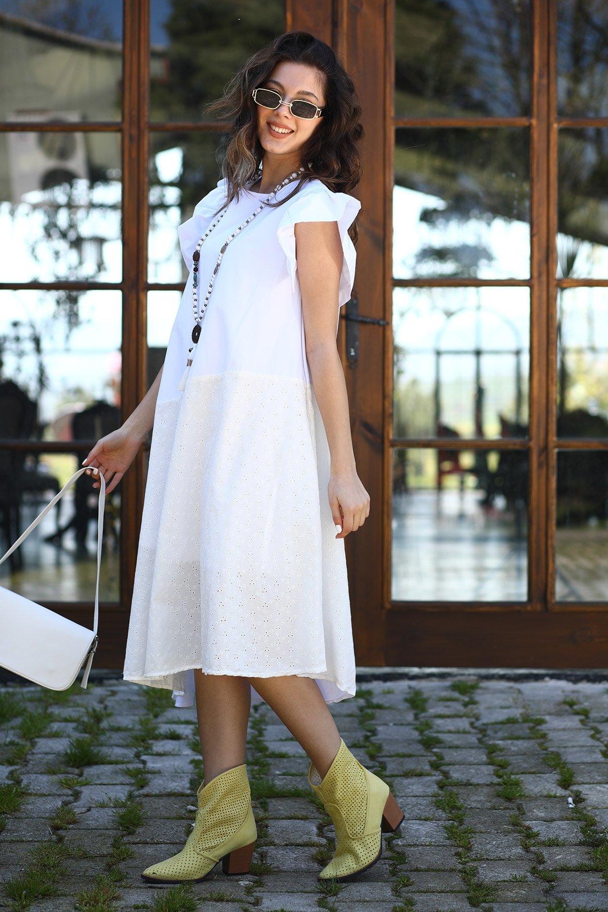 Dantel Detaylı Kol Fırfırlı Elbise