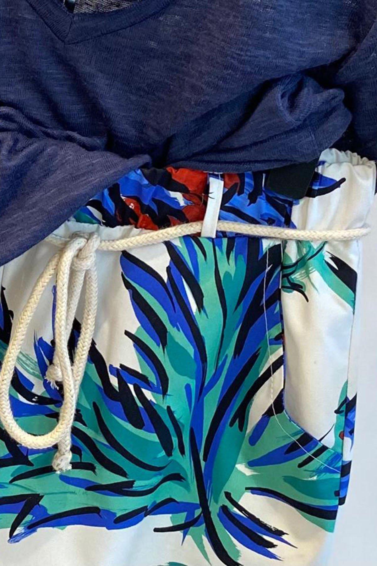 Cepli Desenli Bel Bağcıklı Pantolon