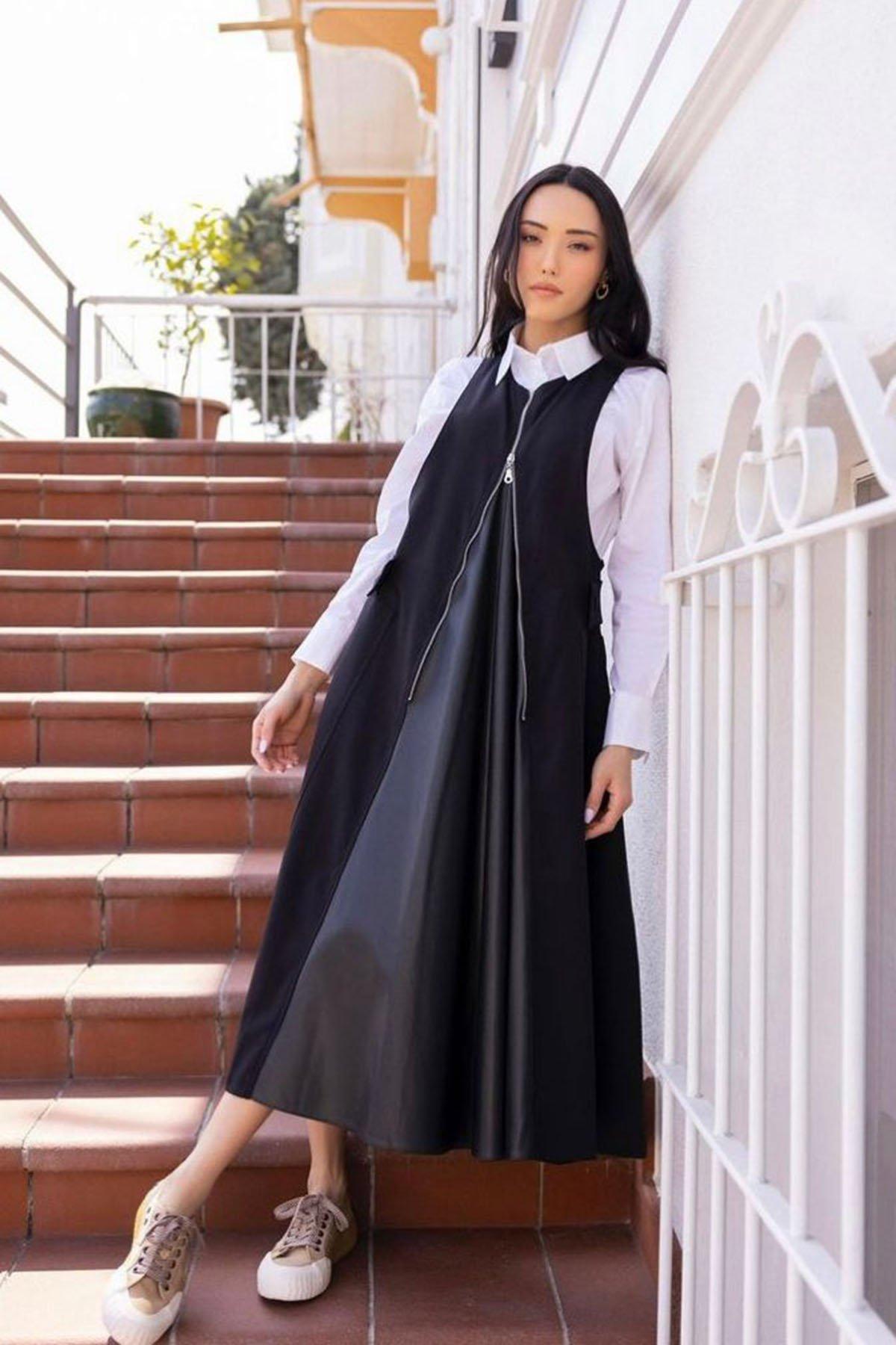 Cepli Fermuarlı Elbise