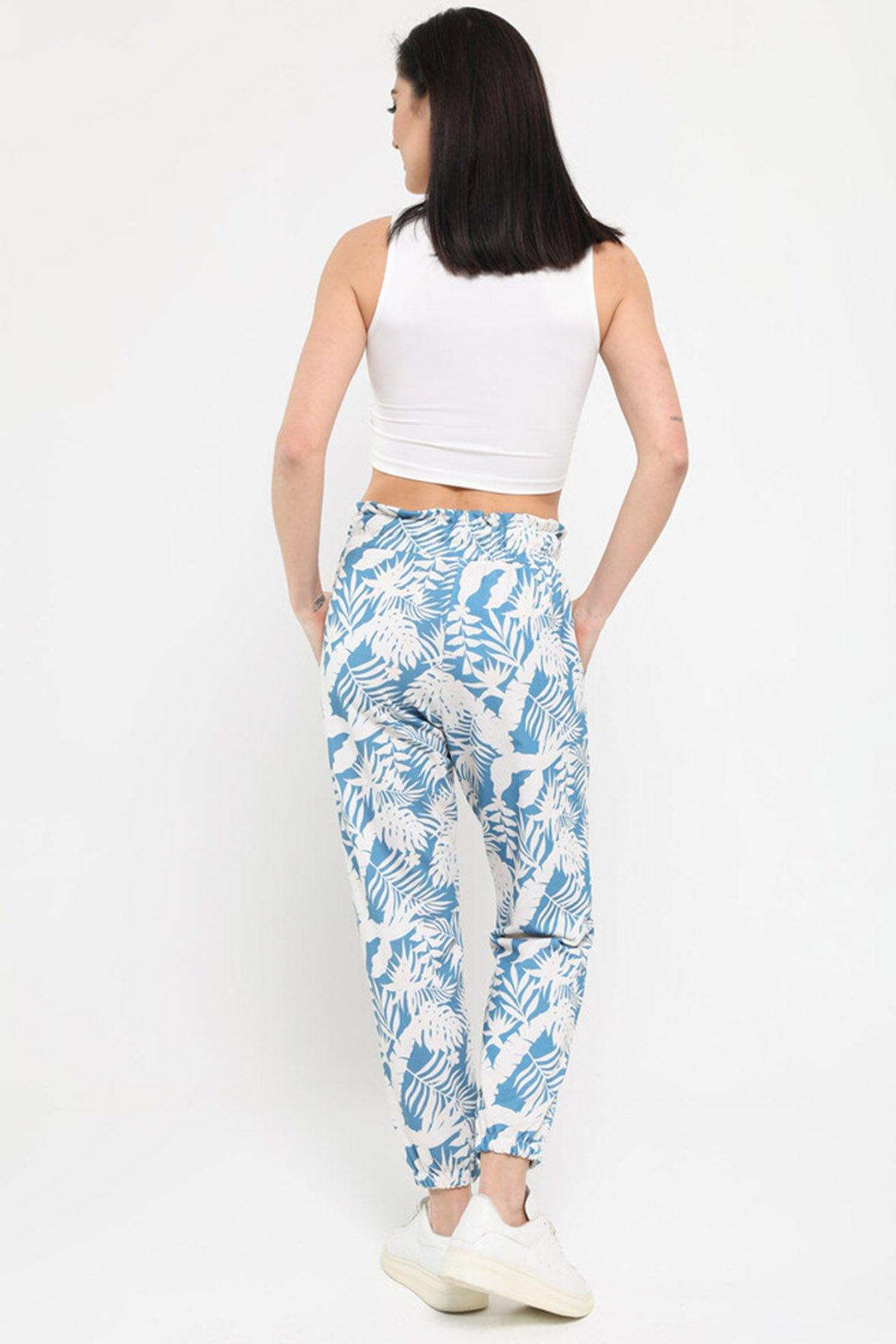 Desenli Bel Lastikli Pantolon