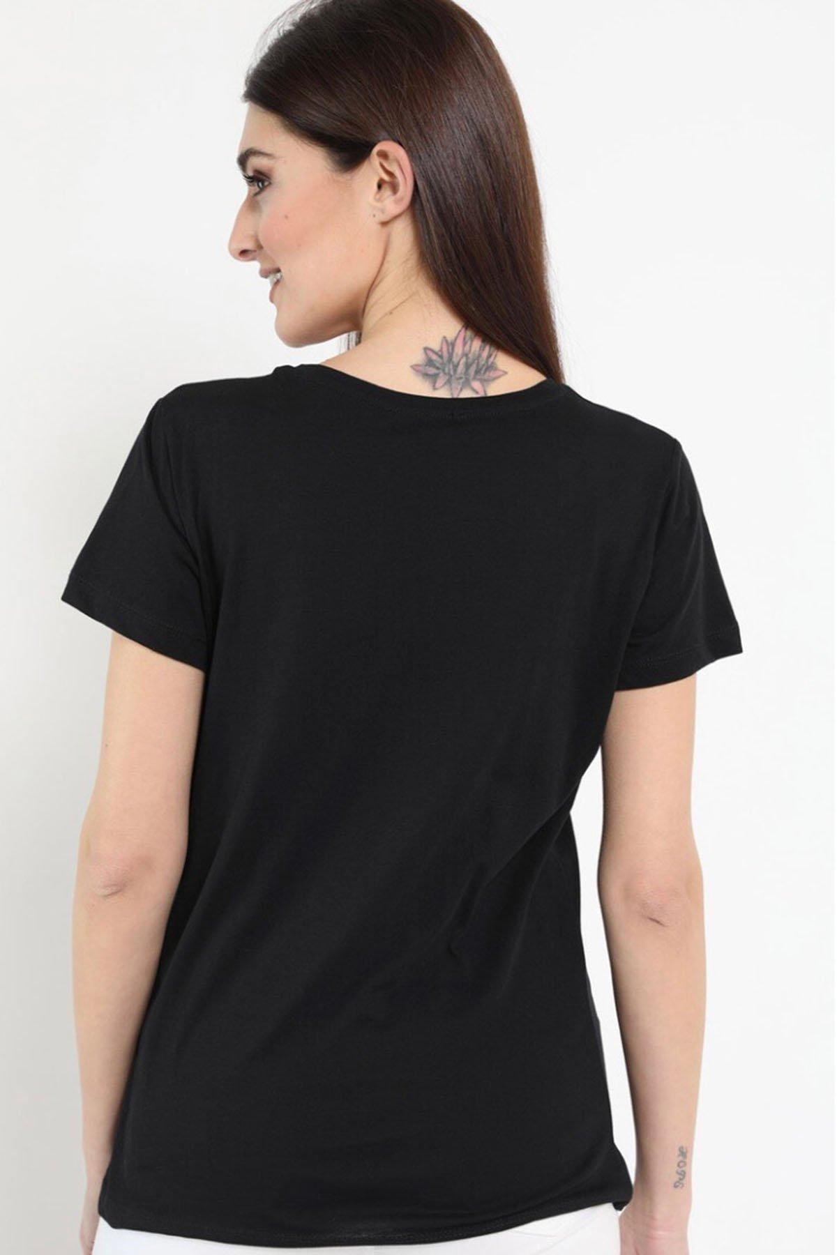 Taş İşlemeli Baskılı T-shirt