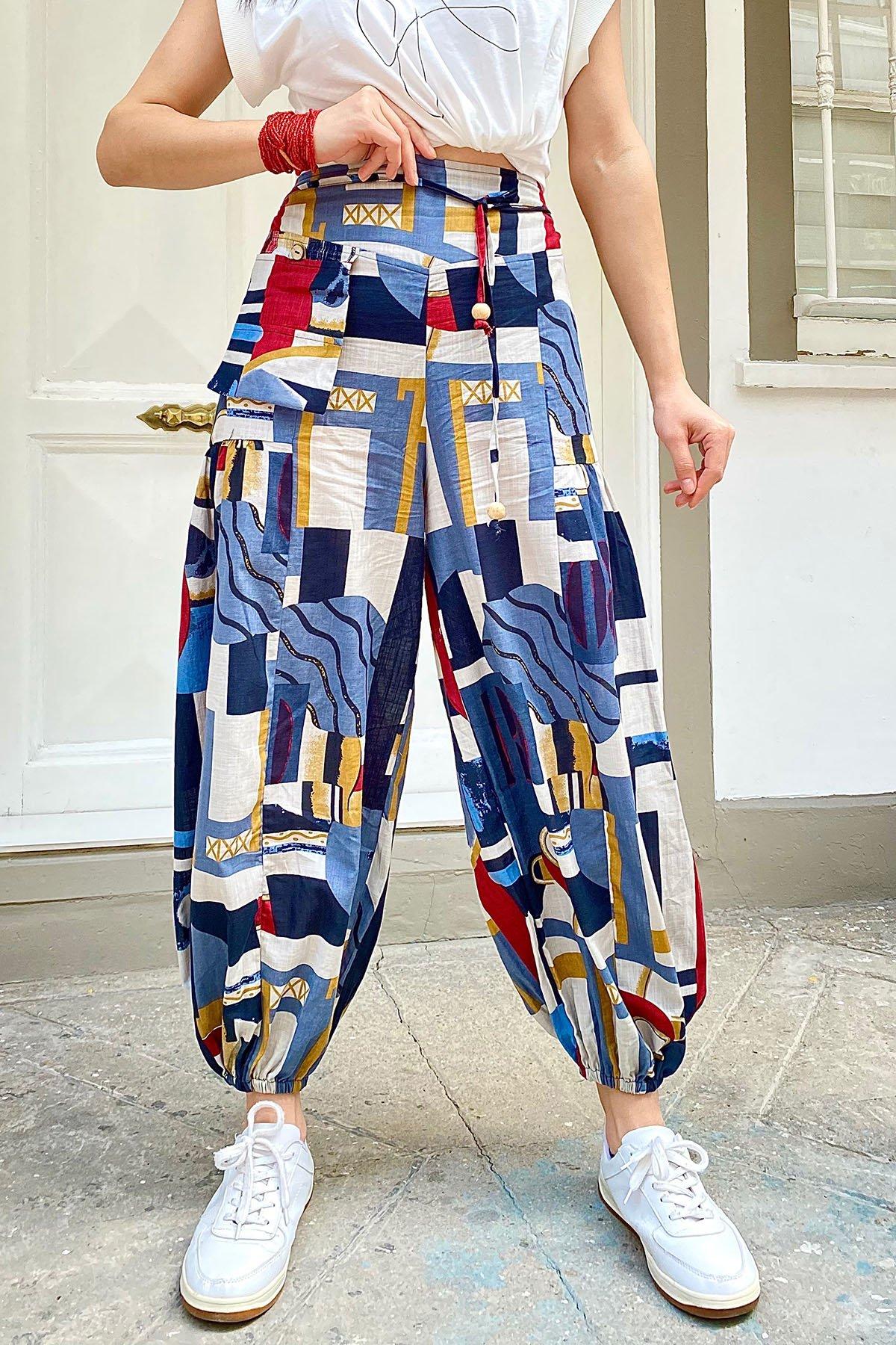 Ham Keten Kare Cep Desenli Şalvar Pantolon