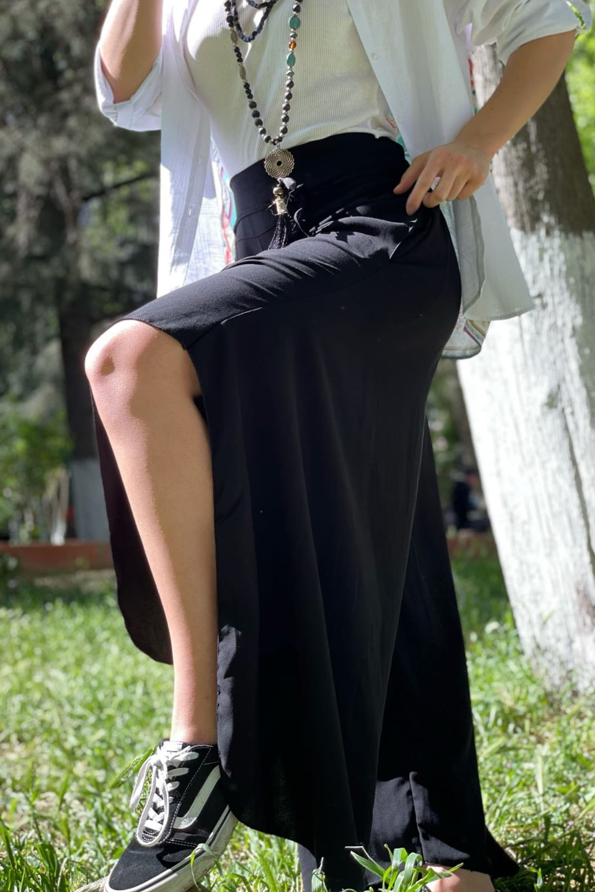 Cepli Bel Lastikli Şalvar Pantolon