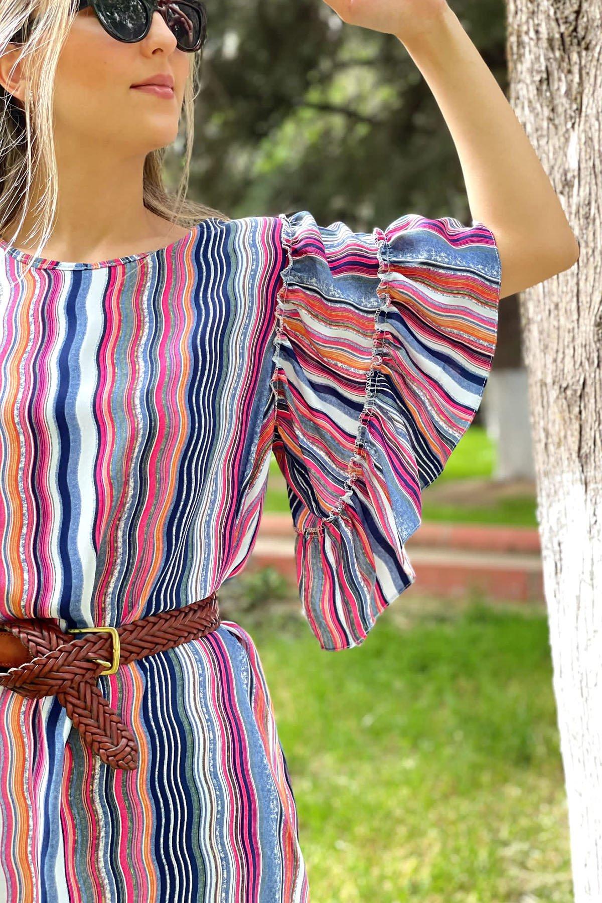 Kol Fırfırlı Desenli Elbise