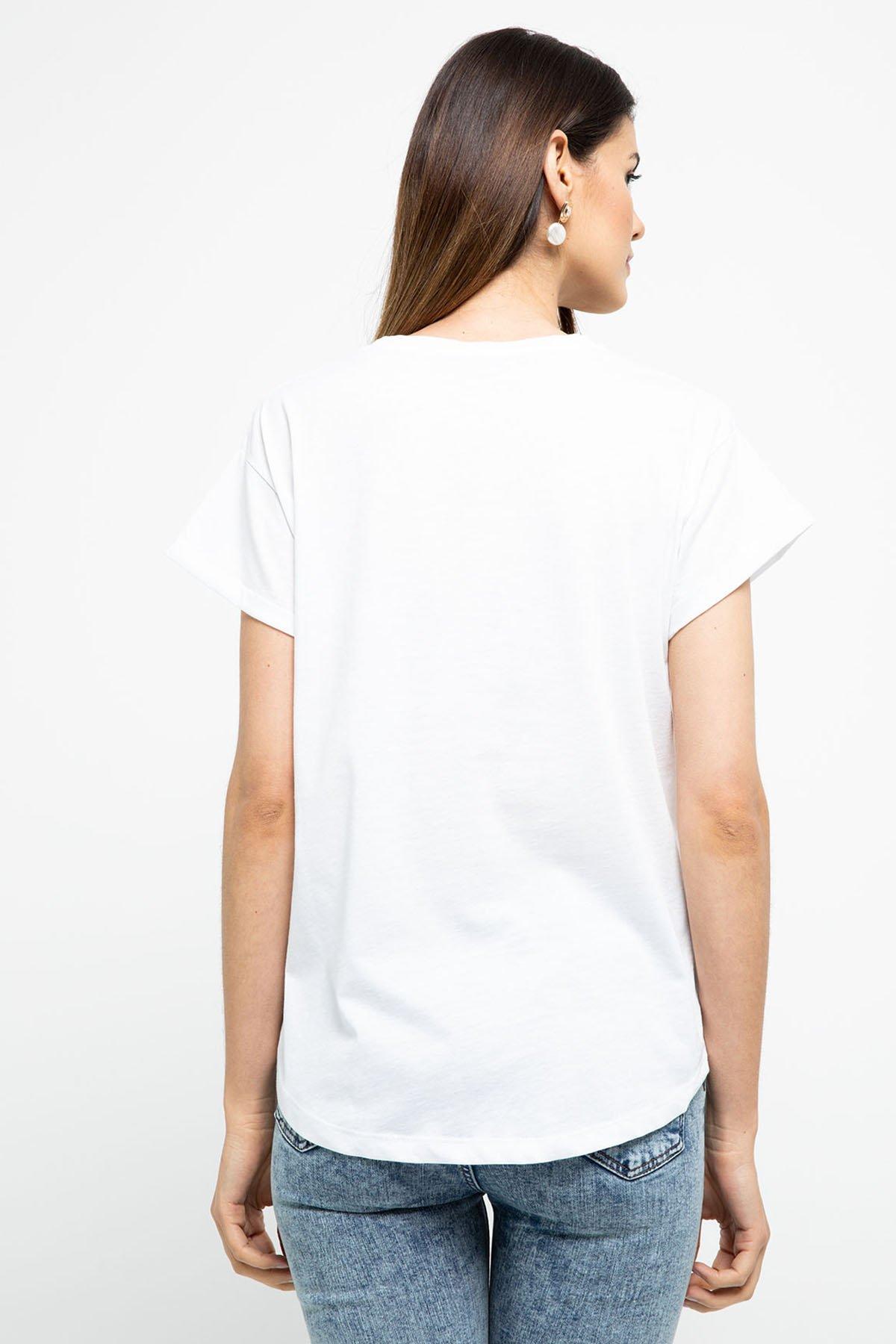 Baskılı Dantel Detaylı T-shirt