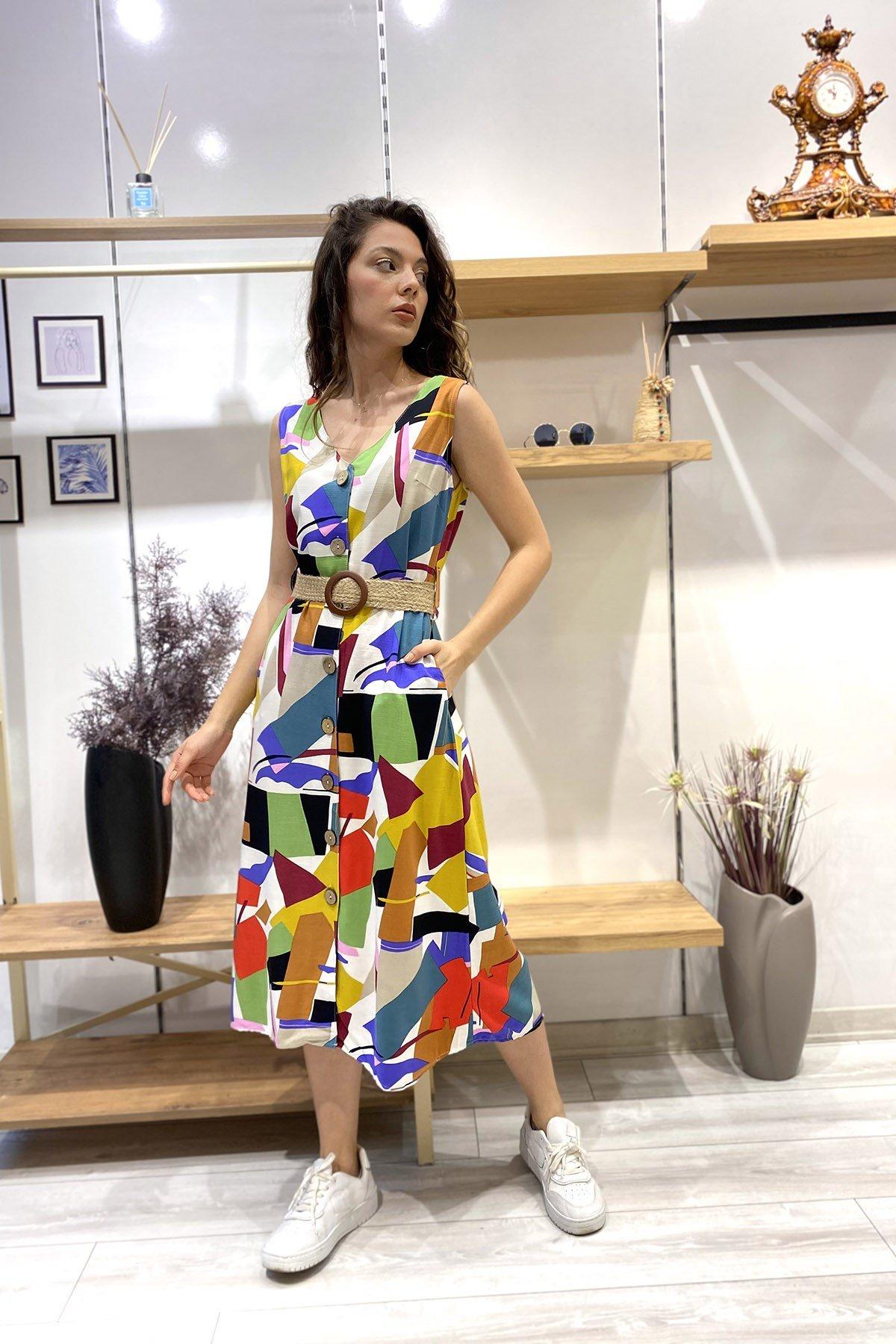 Hasır Kemerli Desenli Sıfır Kol Elbise