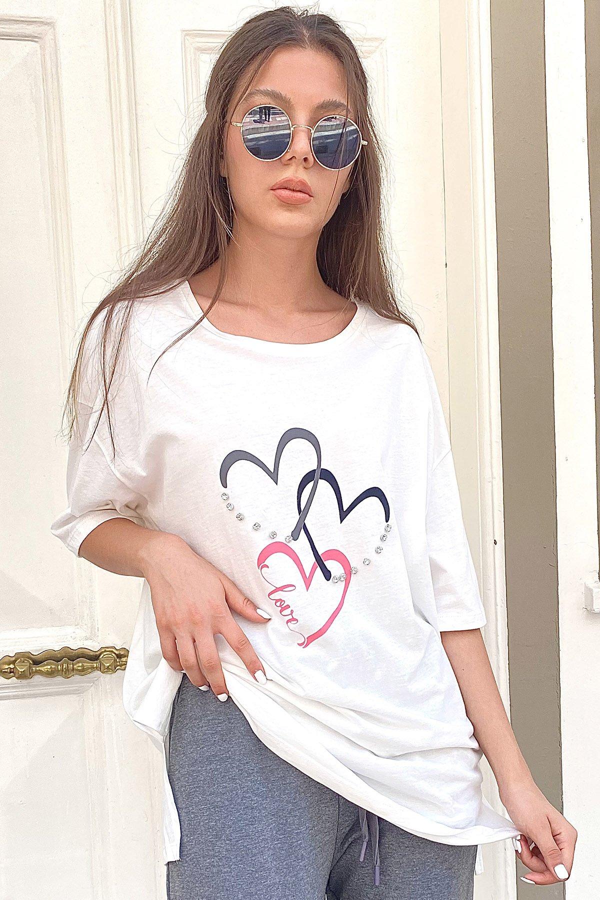 Baskılı Taş İşlemeli T-shirt
