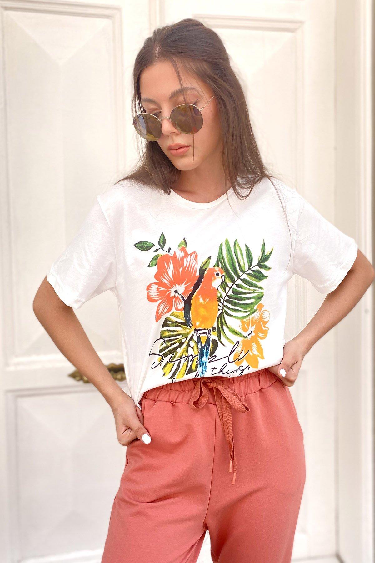 Papağan Baskılı T-shirt