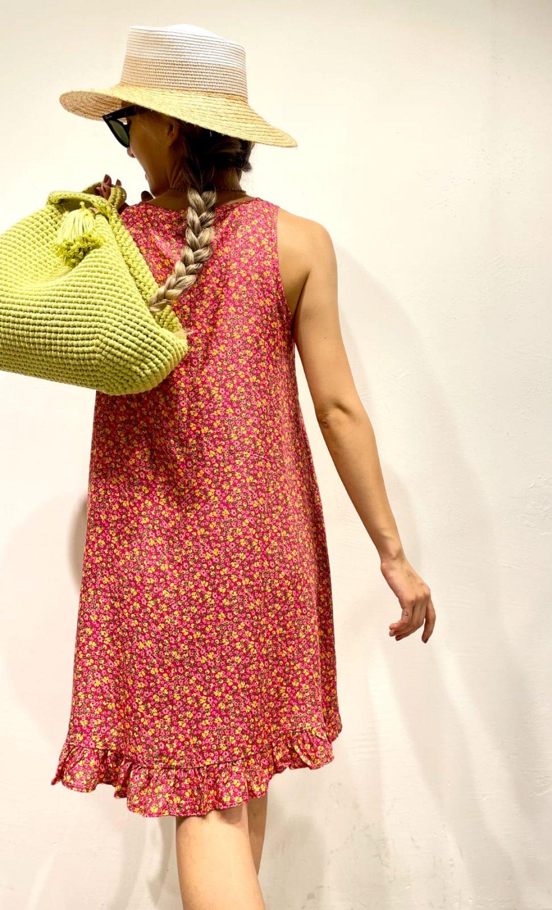 Etek Ucu Fırfırlı Desenli Elbise