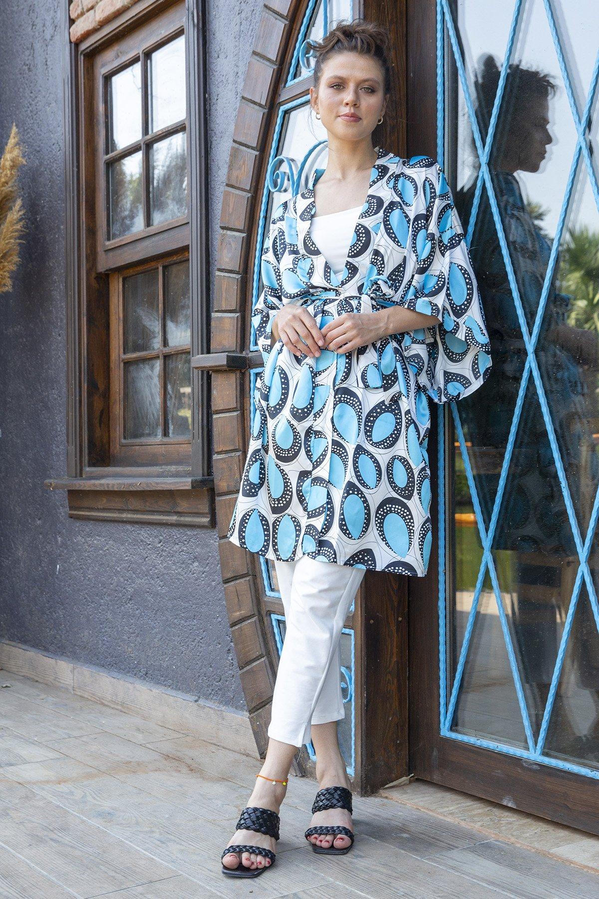 Yarasa Kol Desenli Kimono