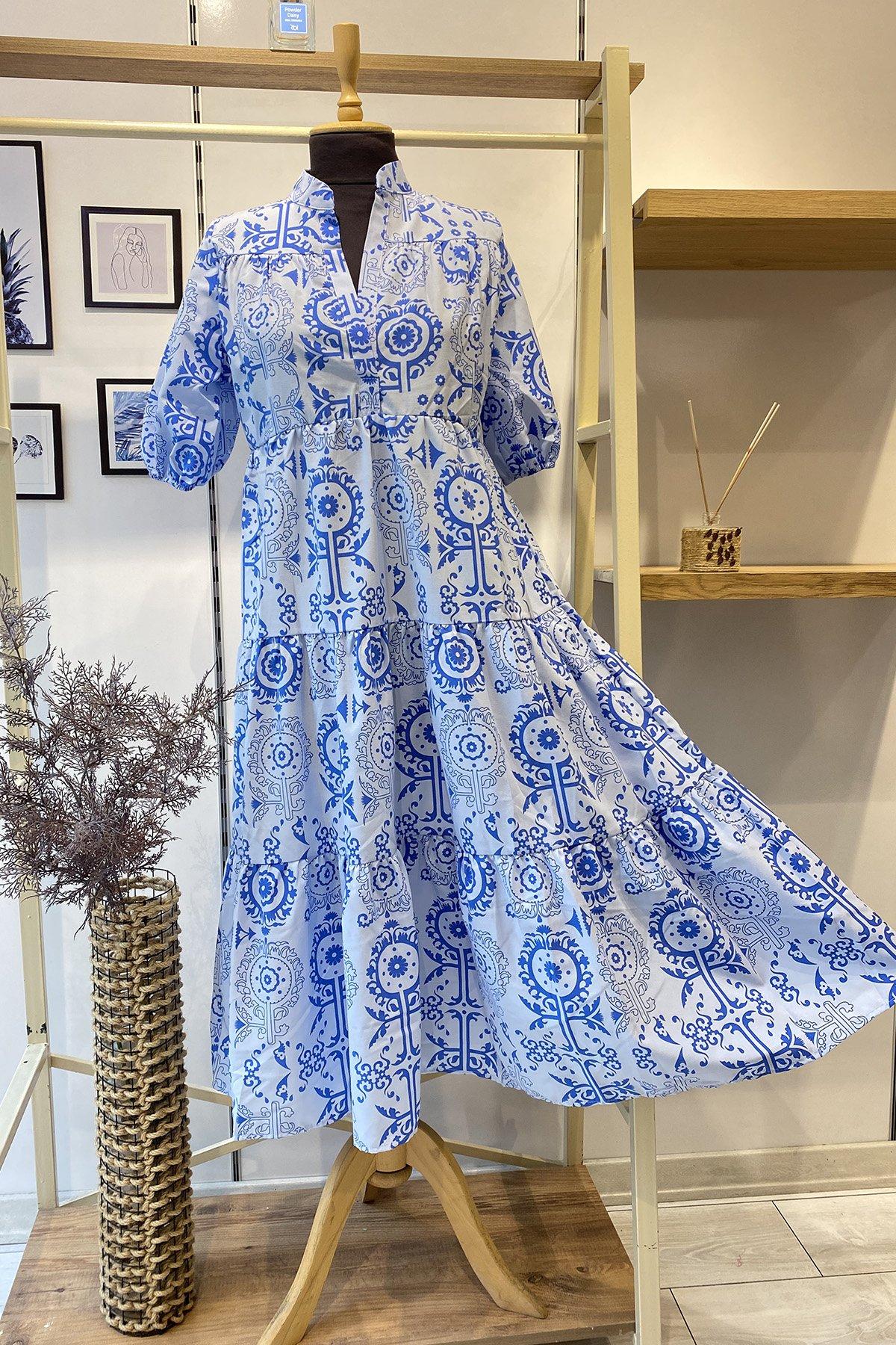 Kol Lastikli Desenli Elbise
