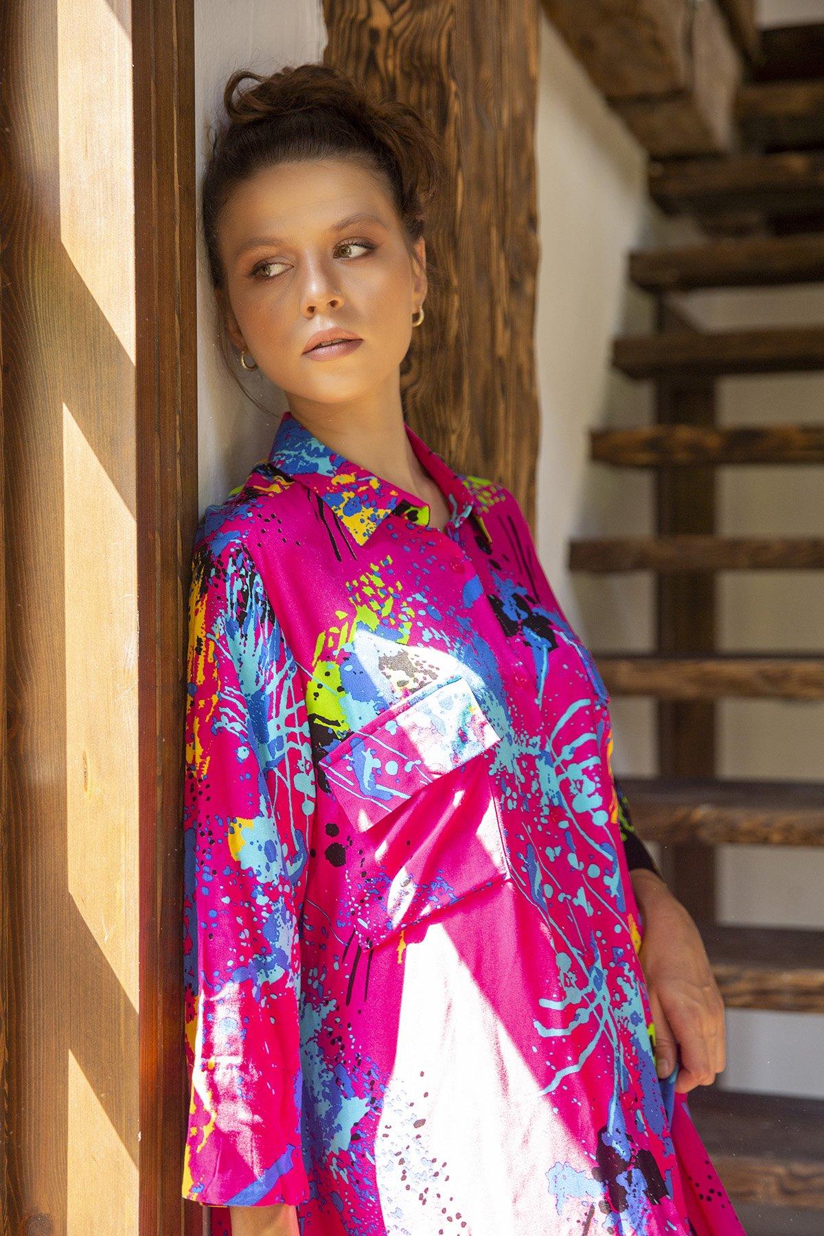 Desenli Yetim Kol Gömlek Elbise