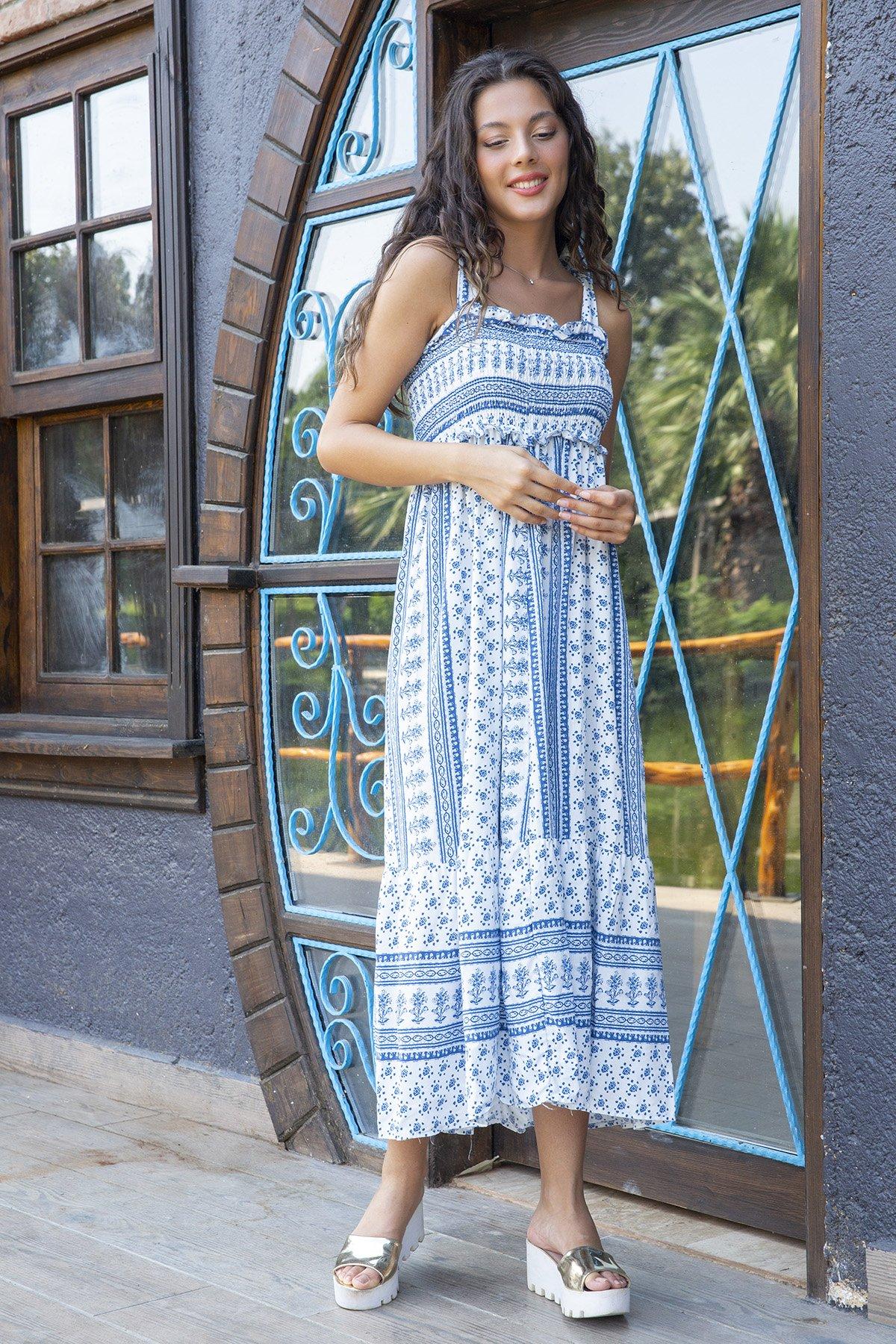 Askılı Göğüs Lastikli Elbise