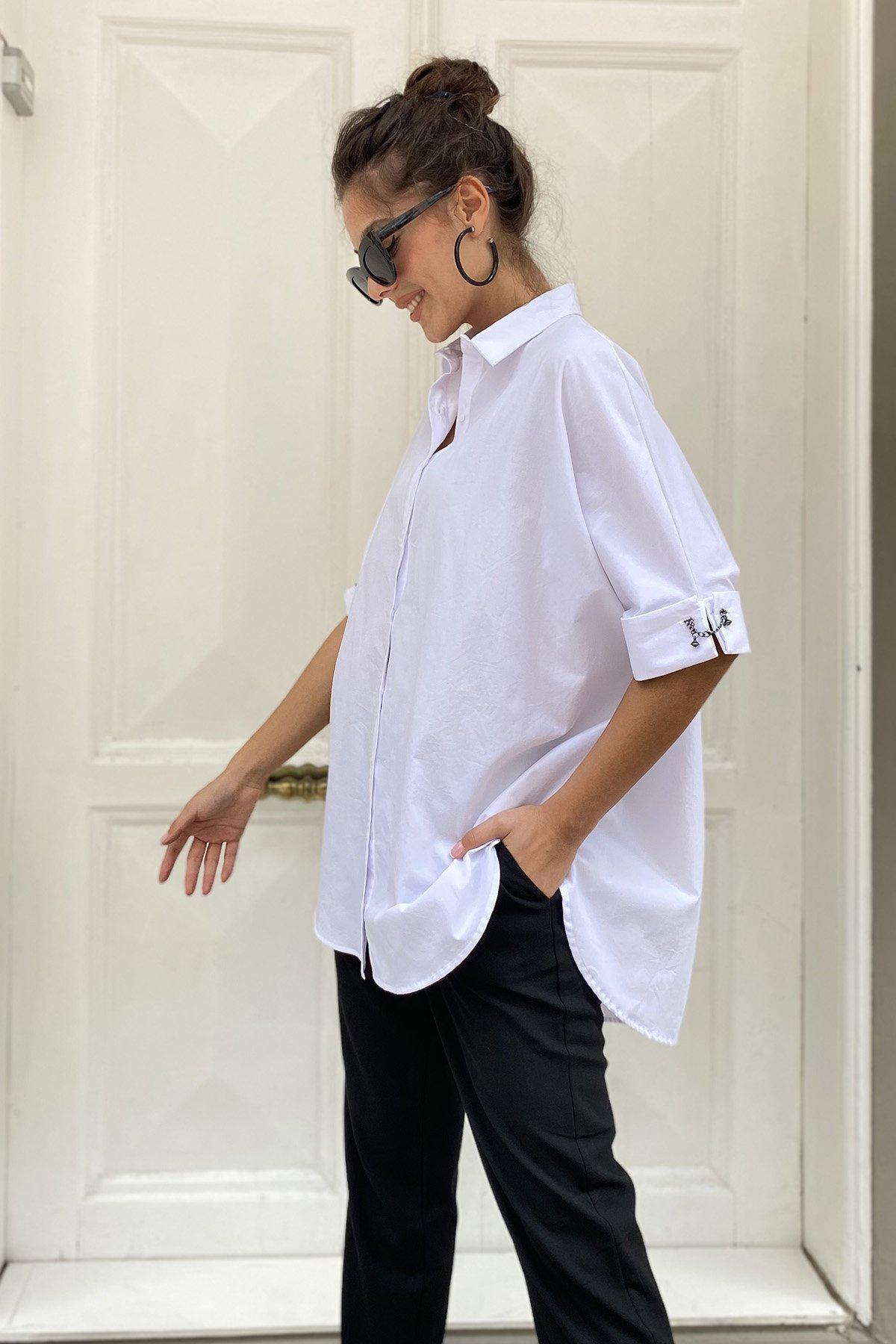 Kol Zincir Aksesuarlı Gömlek