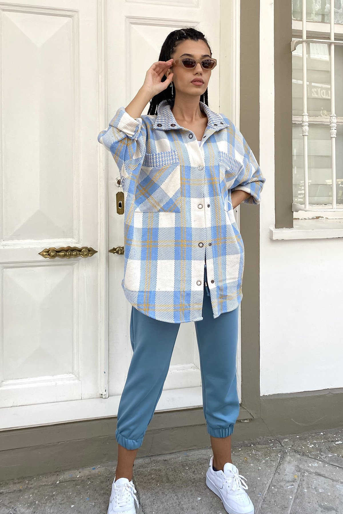 Çıtçıtlı Kareli Gömlek Ceket