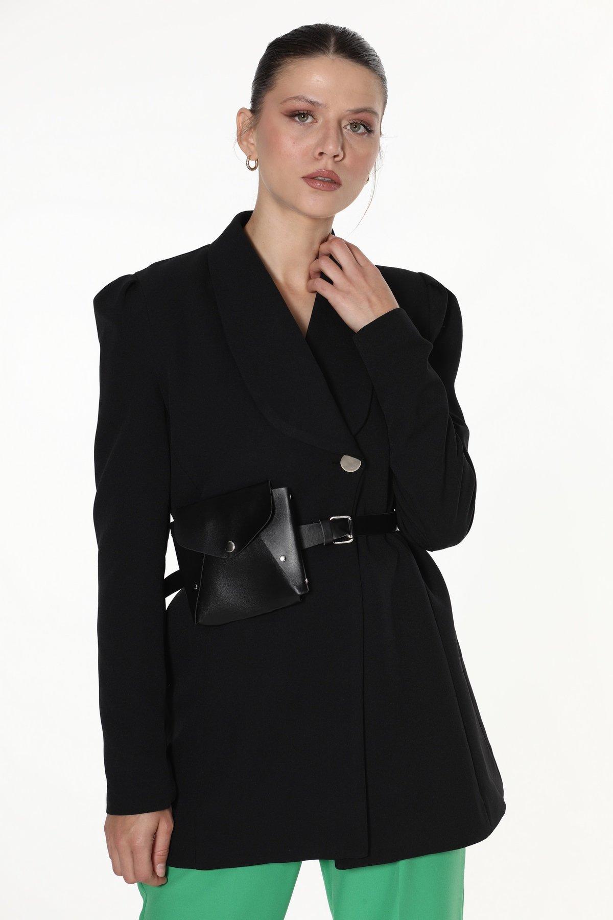 Çanta Kemerli Tek Düğmeli Ceket