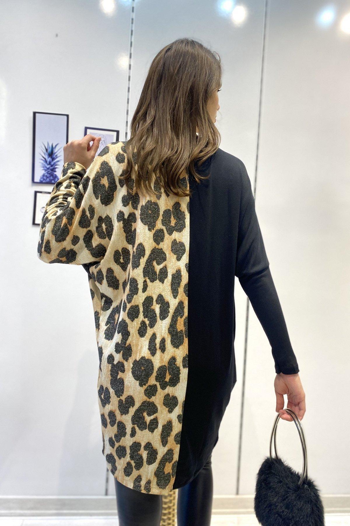 Leoparlı Kravuze Bluz